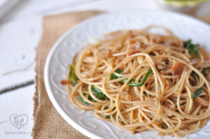 Ramp Spaghetti with toasted bread crumbs. SO easy & delicious!! #pasta #spring #ramps