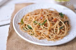 Celebrate Spring with this simple + satisfying Ramp Spaghetti. #pasta #vegan #ramps #spring