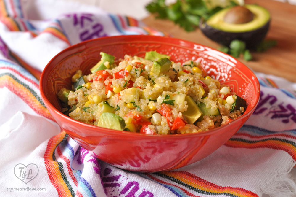 Zucchini and Corn Quinoa Salad topped with creamy avocado is delicious served warm or cold. A healthy quinoa salad that is yummy! #vegan #salad #quinoa
