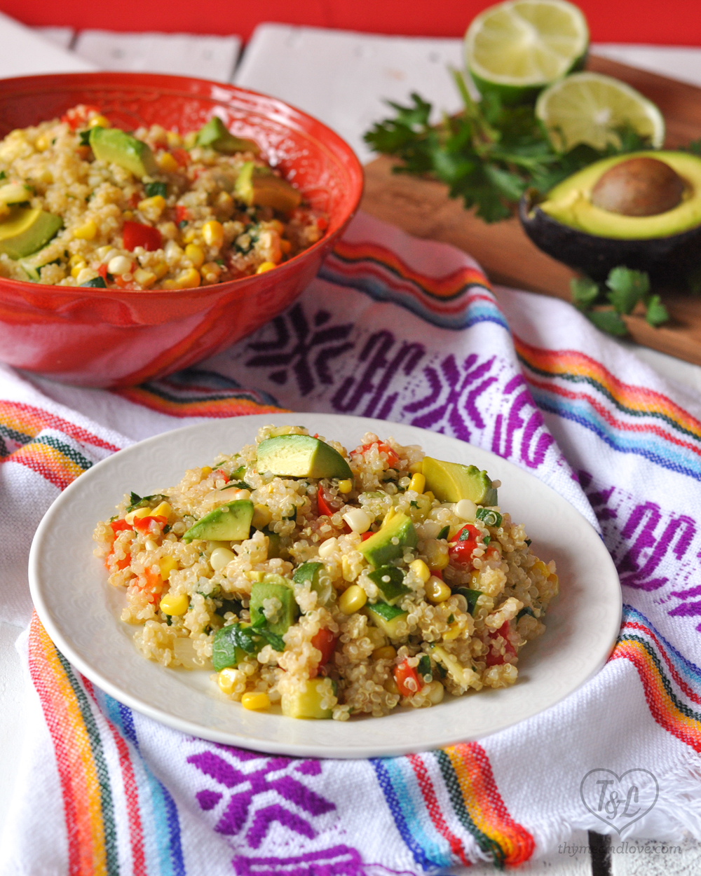 Zucchini and Corn Quinoa Salad with Avocado is yummy served warmed or cold. A healthy lunch option perfect for Summer! #salad #quinoa #vegan #glutenfree