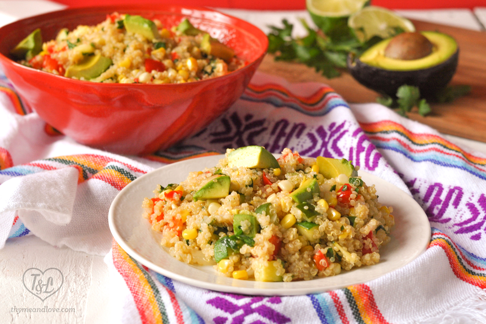 Quinoa Salad with Zucchini and Corn topped with creamy avocado. A healthy recipe full of flavor and nutrition. #vegan #quinoa #glutenfree #salad