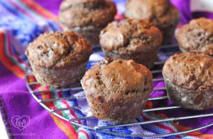 Vegan Chocolate Muffins made the coconut oil and dark chocolate chips. #vegan #muffins #breakfast #recipe
