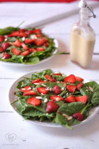 Strawberry Spinach Salad with Rhubarb Dressing #salad #plantbased #vegan