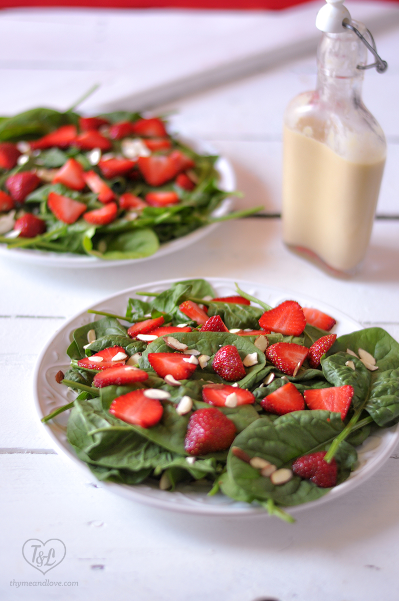 Strawberry Spinach Salad with Rhubarb Dressing #salad #plantbased #vegan