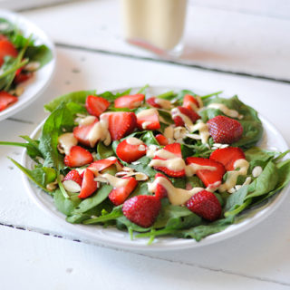 Strawberry Spinach Salad with Rhubarb Dressing