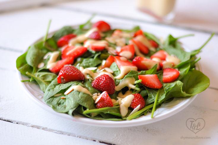 Strawberry Spinach Salad with Rhubarb Dressing