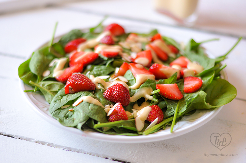 Strawberry Spinach Salad with Rhubarb Dressing #vegan #salad #plantbased