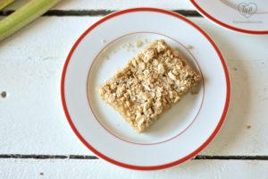 Crumb Bars with a tart, rhubarb filling. #rhubarb #vegan