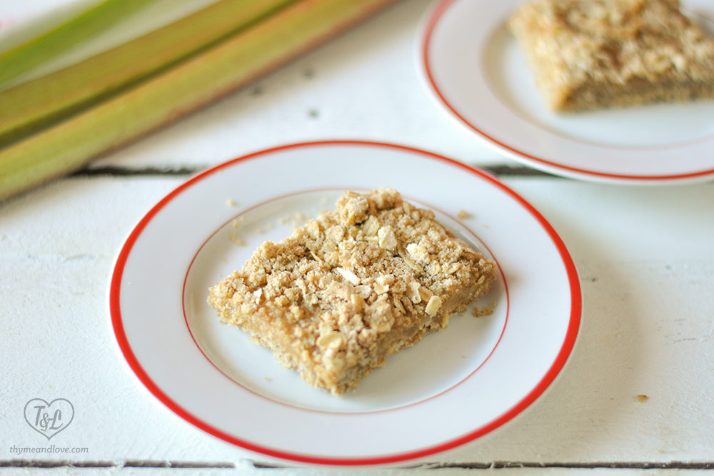 Slight sweet and tart Rhubarb Crumb Bars are a portable treat perfect for picnics and potlucks! #vegan #rhubarb #dessert