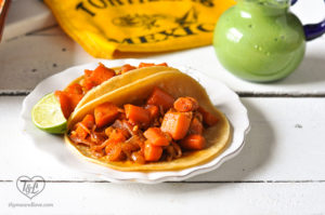 Braised Carrot Tacos are a hearty vegan taco filling that even meat eaters will love. #tacos