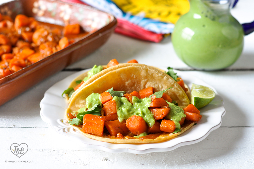 Braised Carrot Tacos with creamy, taqueria salsa. Perfect for meatless monday or taco tuesday! #tacos #vegan
