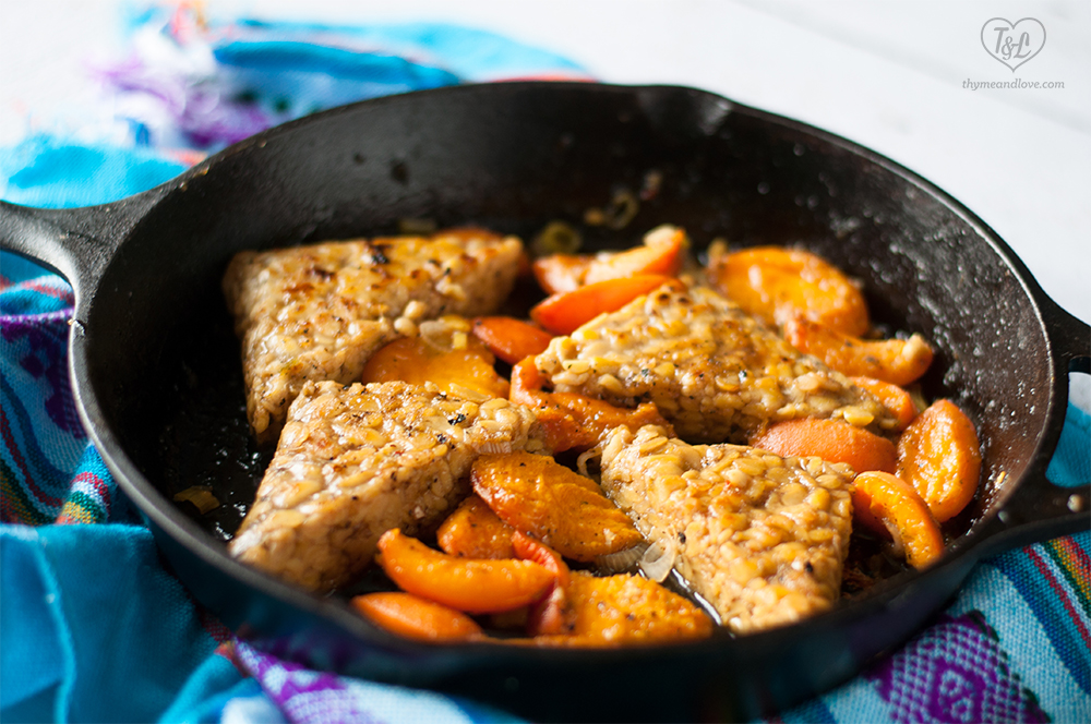 Vegan Apricot Tempeh in a white wine pan sauce. A satisfying plant-based protein packed entree. #vegan #dinner #plantbased