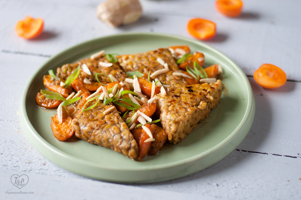 Protein packed tempeh with apricots in a white wine sauce. #vegan #dinner