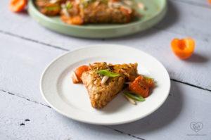 Vegan Apricot Tempeh in a white wine pan sauce. #vegan #dinner