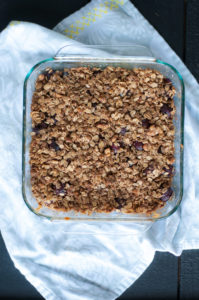 Vegan Cherry Crisp made with fresh local sweet cherries and topped with a gluten-free topping. An easy summer dessert recipe.