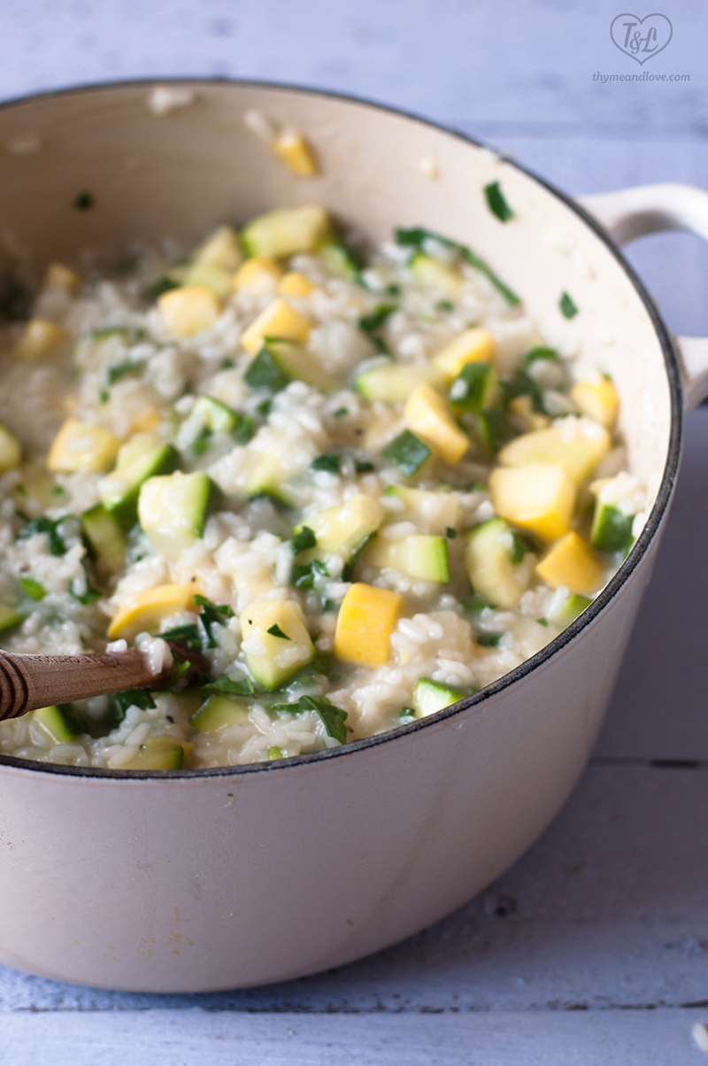 Vegan Zucchini Squash Risotto with fresh herbs. Perfect entree for summer! #dinner #vegan