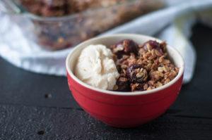 Vegan Cherry Crisp is an easy, summer dessert that is also gluten-free! #vegan #cherries #dessert