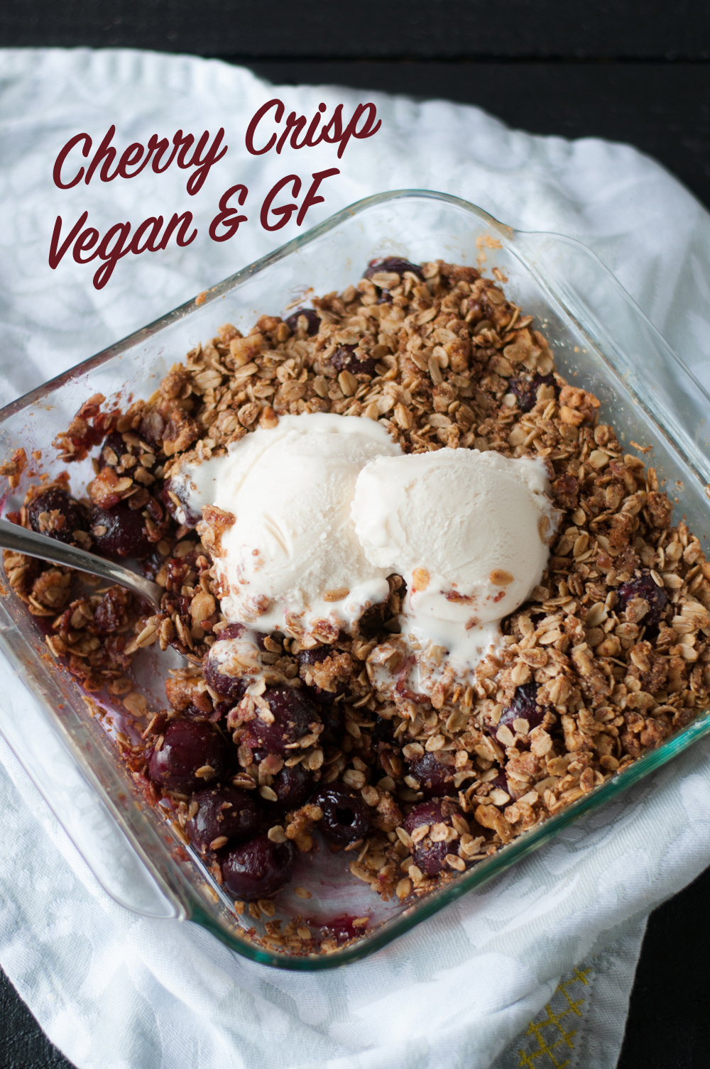 Cherry Crisp is an easy summer dessert featuring sweet cherries. Plus it's naturally gluten-free!