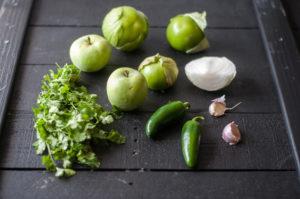 Creamy Roasted Tomatillo Salsa with apples. A fun twist on classic salsa verde. #salsa