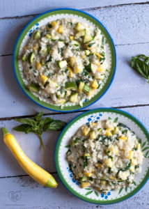 Take advantage of seasonal summer produce and make this light and easy Zucchini Squash Risotto. #vegan #dinner #summer