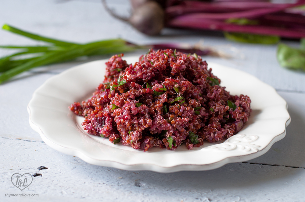 Red Quinoa and Beet Salad with a light vinaigrette. #salad #quinoa #healthy
