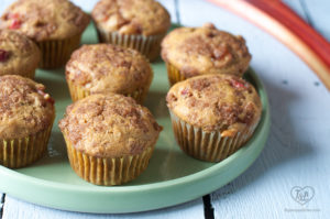 Vegan Rhubarb Muffins topped with a crumb topping
