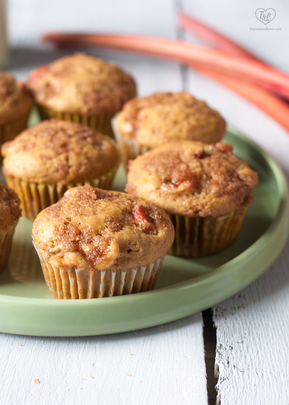 Vegan Rhubarb Muffins with a cinnamon sugar topping