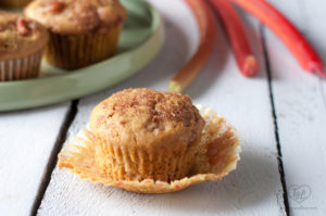 Vegan Rhubarb Muffins with a brown sugar topping