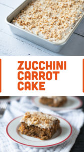 Vegan Zucchini Carrot Cake with a light cream cheese frosting. The perfect cake for taking to any potluck or event. A definite crowd pleaser! #vegan #dessert #cake