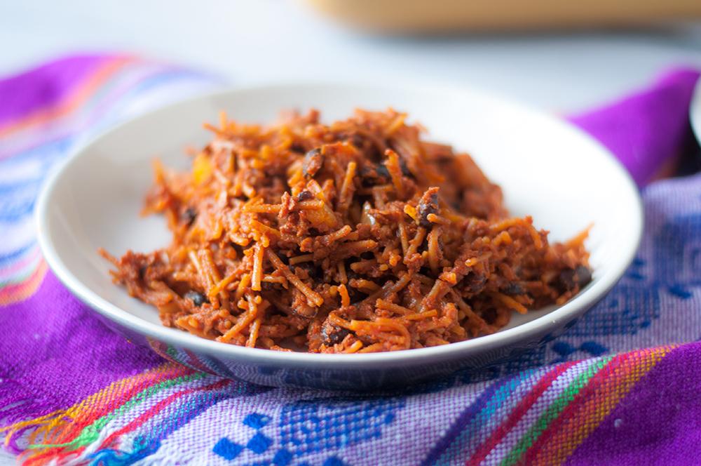 Vegan Chorizo Noodle Casserole: inspired by Mexican Fideo Seco. #vegan #casserole