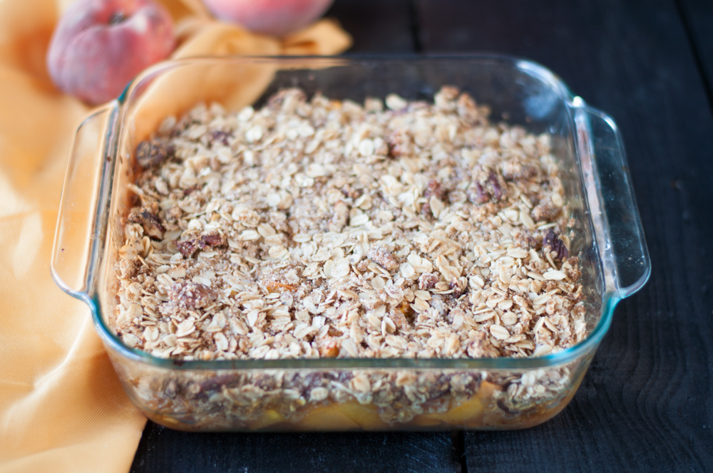 Have an abundance of peaches from the local farmers market? Make this simple and delicious peach crisp!
