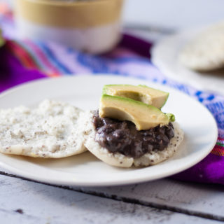 Chia Seed Arepas with Beans and Avocado