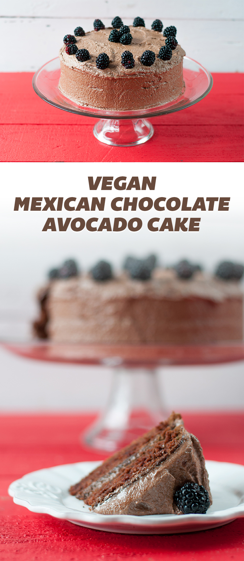 Vegan Mexican Chocolate Avocado Cake with a chocolate buttercream frosting. This moist, tender cake is perfect for any occasion. #vegan #cake