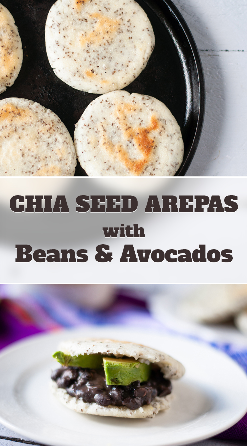 Vegan Chia Seed Arepas filled with easy Latin inspired refried beans and avocado slices. A protein-packed plant-based meal that's perfect for brunch or dinner! #vegan #entree #Venezuelan