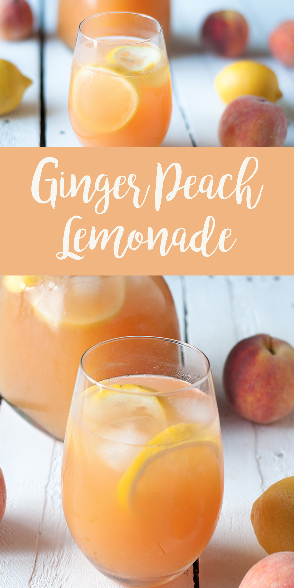 Enjoy a glass of this refreshing Ginger Peach Lemonade on a hot summer day!  #Peach #Recipe #Drink #Beverage #Ginger #vegan #plantbased #summer  #laborday #lemon