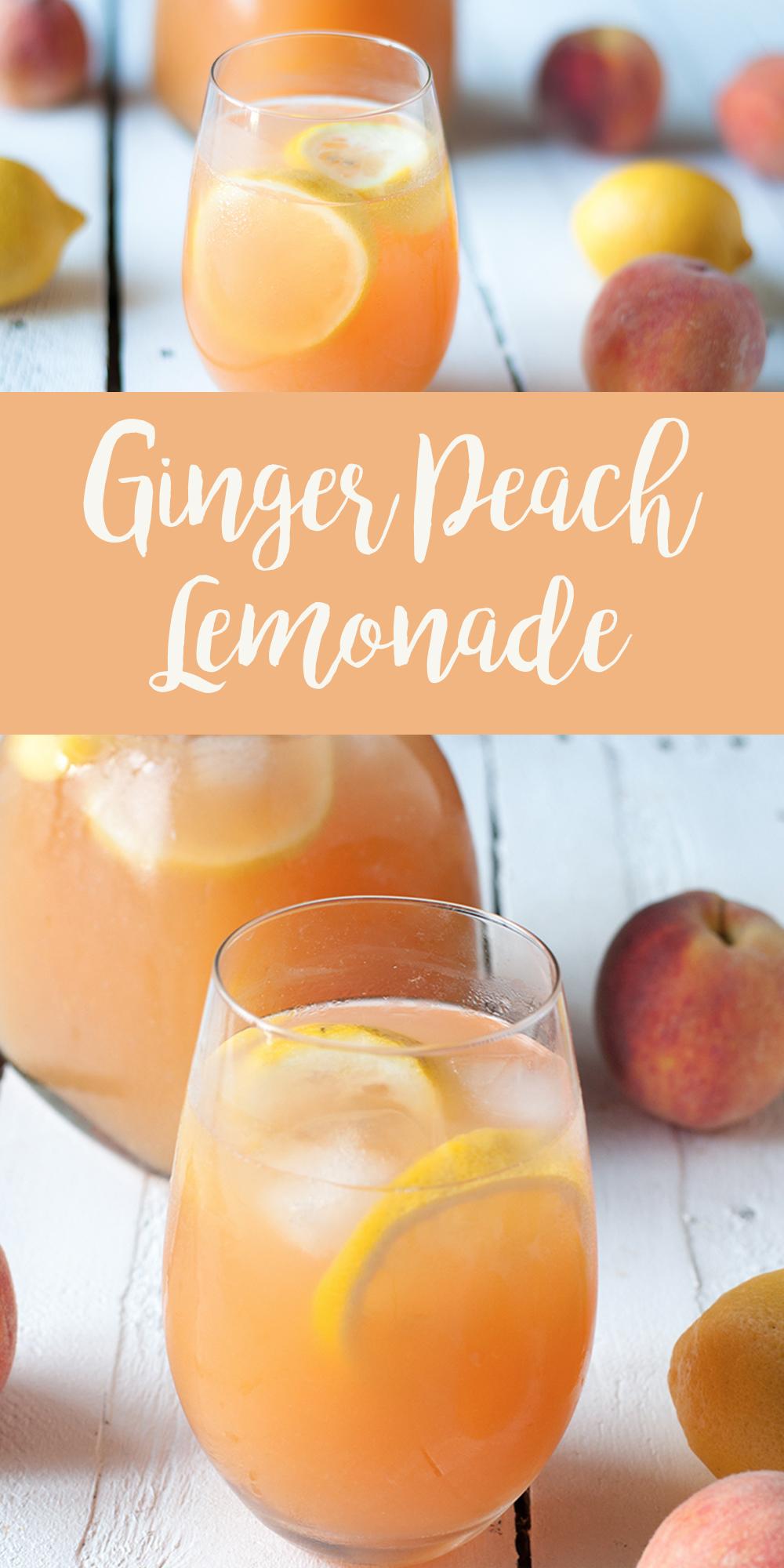 Enjoy a glass of this refreshing Ginger Peach Lemonade on a hot summer day! #Peach #Recipe #Drink #Beverage #Ginger #vegan #plantbased #summer  #laborday #lemon
