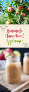 Homemade Unsweetened Applesauce made with apple cider and no refined added sugars. Use you favorite mix of apples for this simple and easy applesauce recipe!