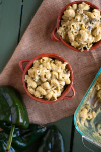 Vegan Green Chile Mac n' Cheese: a cozy, comforting baked pasta dish easy enough for a weeknight meal!