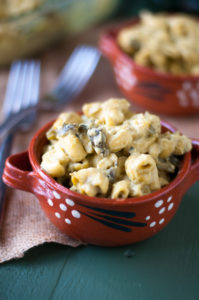 Vegan Green Chile Mac n' Cheese: a creamy cashew based sauce with a spicy kick from roasted poblano peppers.