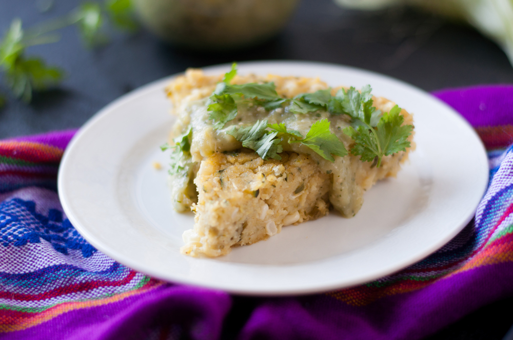 Vegan Zucchini Corn Tamal Casserole served with salsa verde! A great vegan + gluten-free main course dinner option! #vegan #entree #glutenfree