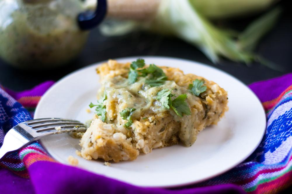 Vegan + GF Zucchini Corn Tamal Casserole served with salsa verde. A great main course dinner option!