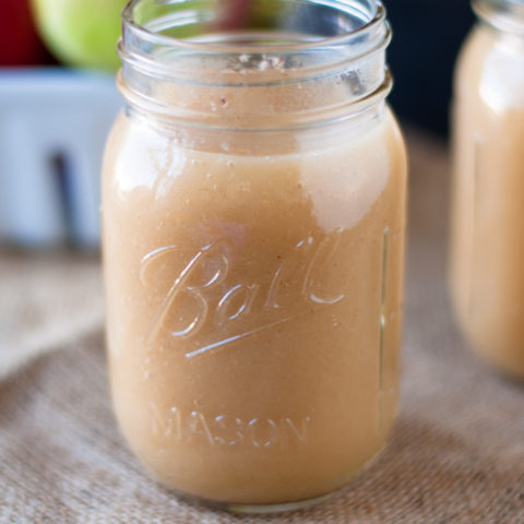 Homemade Unsweetened Applesauce made with apple cider and no added sugars.
