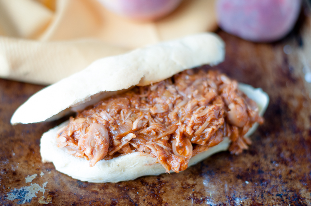 Slow Cooker BBQ Peach Jackfruit makes for an easy sandwich filling!