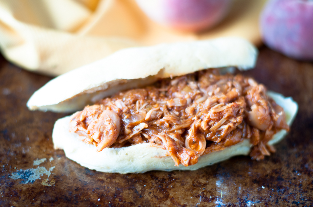 BBQ Peach Jackfruit makes for a delicious and easy sandwich filling!