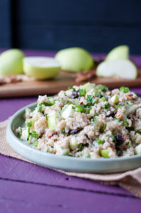 Brown Rice Salad with Apples and Pecans. A light lemon dressing makes this salad light and bursting with flavor! Perfect for a filling and healthy lunch.