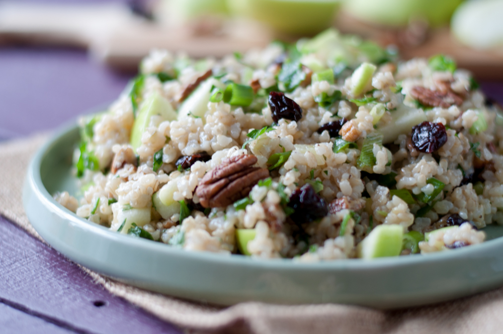 Brown Rice Salad with apples, pecans and Michigan dried cherries. A healthy and light grain salad!