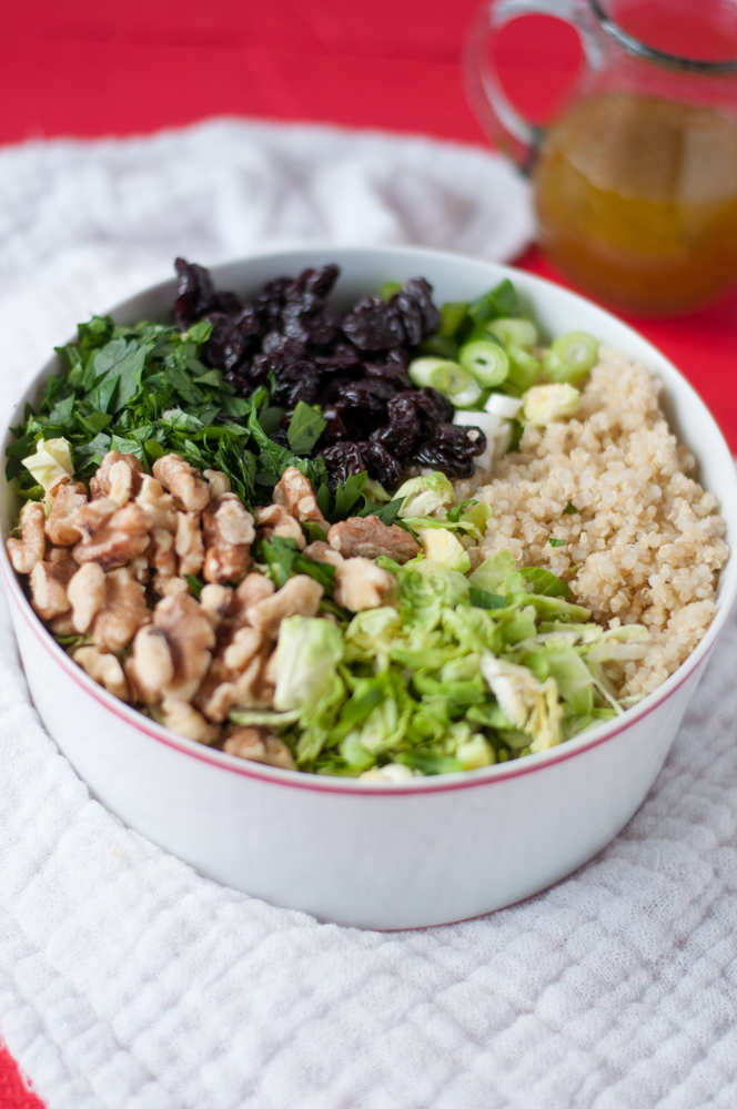 Brussel Sprout Quinoa Salad with Dried Cherries. A great meal prep option for the work week. #salad #mealprep #vegan
