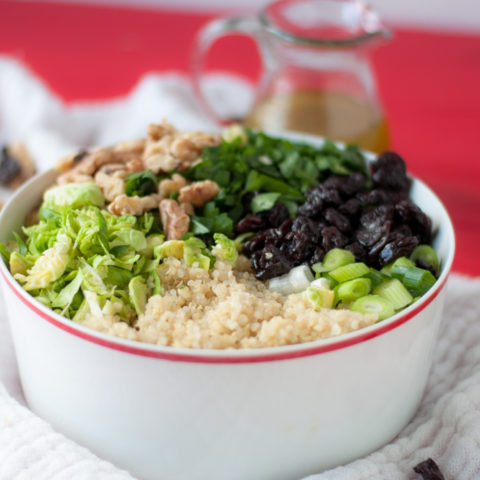 Brussel Sprout Quinoa Salad with Dried Cherries. Perfect fall salad and a great make-ahead salad too! #vegan #glutenfree