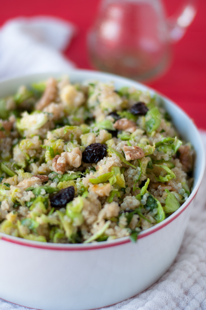 Brussel Sprout Quinoa Salad with Dried Cherries. Perfect for meal prepping or serving during the Fall Holidays. #vegan #glutenfree #salad