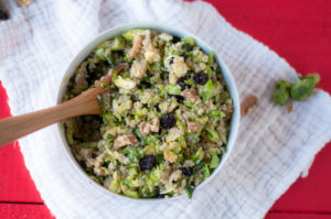 Vegan + GF Brussel Sprout Quinoa Salad with dried cherries. Perfect for meal prepping! #salad #mealprep